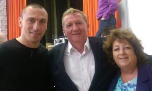 Linda and I meet with Scott Brown to present prizes