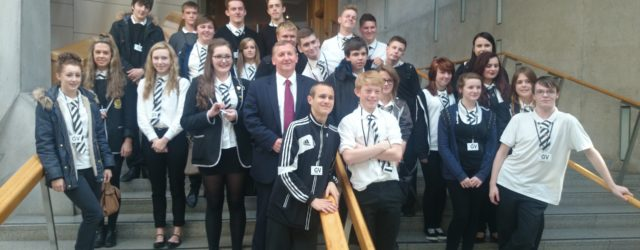 (Inverkiething students with Alex Rowley on the grand stairs in the Garden Lobby of the Parliament.)   A group of 5th and 6th year pupils from Inverkiething High School visited […]