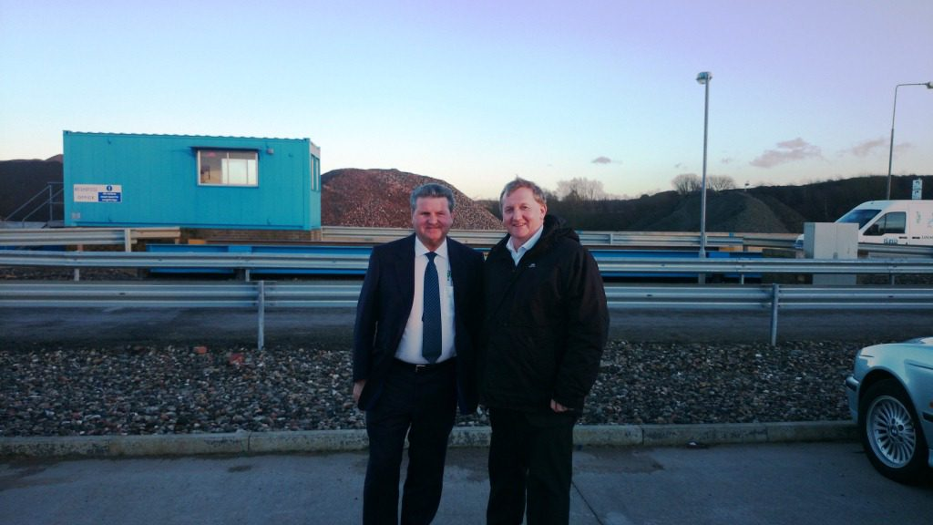 Alex Rowley with Bob Purvis at the Bowhill Plant