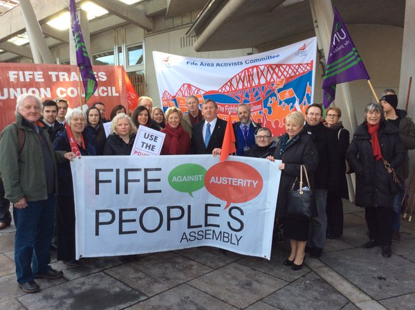 Alex with Fife campaigners calling for an end to cuts in public services.