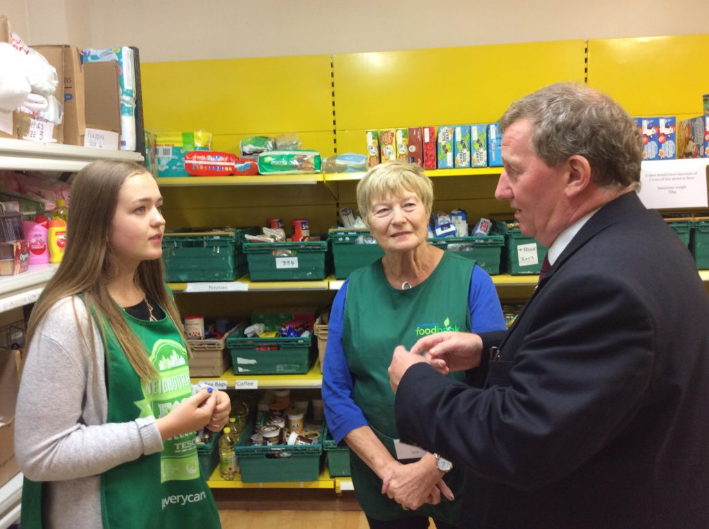 Alex Rowley speaking with volunteers at Dunfermline Food Bank